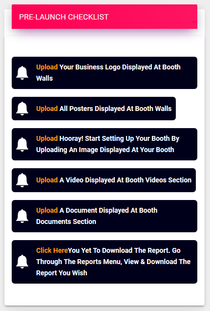 Exhibitor PreLaunch Checklists for Virtual Fair
