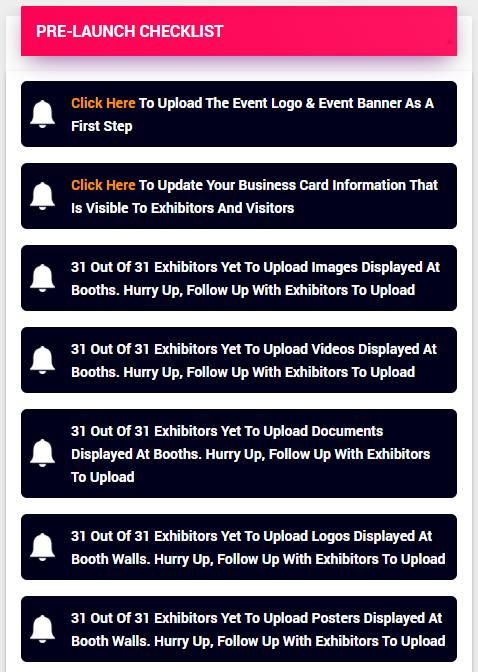 Organiser Pre-Launch Checklists for Virtual Fair
